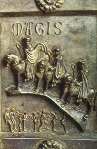 Háromkirályok domborműve a pisai dóm bronzkapujáról
