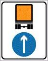 Kötelező haladási irány veszélyes anyagot szállító jármű részére