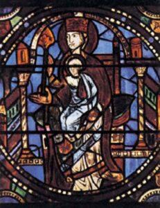 a Chartres-i katedrális üvegablakai (Mária halála)